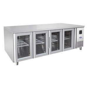 Tavolo frigorifero TN per teglie 1/1 GN 4 porte vetro