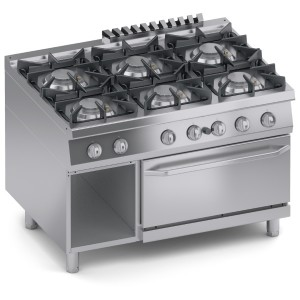 Cucina Gas 6 fuochi Top + Vano Aperto + Forno a Gas 2/1 GN K4GCUS15FF