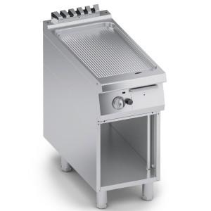 Fry Top a Gas Rigato in Acciaio Inox con Finitura a Specchio + Vano Aperto K4GFBP05VVR