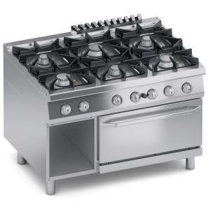 Cucina Gas 6 fuochi Top + Vano Aperto + Forno a Gas 2/1 GN K4GCUP15FF