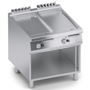 Fry Top a Gas Liscio in Acciaio Inox con Finitura a Specchio + Vano Aperto K4GFBP10VVL