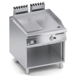 Fry Top a Gas Rigato e Liscio in Acciaio Dolce con Paraspruzzi + Vano Aperto K4GFRS10VV